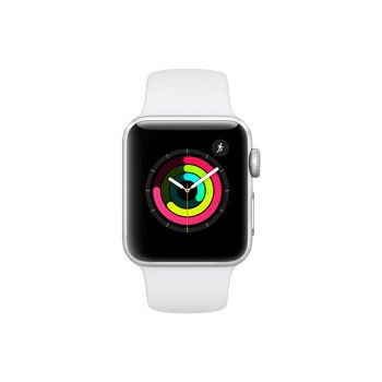 Apple Watch Series 3, 38mm Silver Aluminum Case, White Sport Band