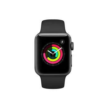 Apple Watch Series 3, 38mm Space Gray Aluminum Case, Black Sport Band