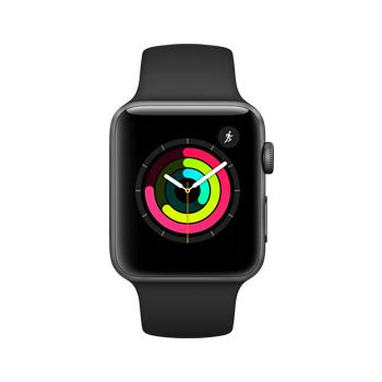 Apple Watch Series 3, 42mm Space Gray Aluminum Case, Black Sport Band