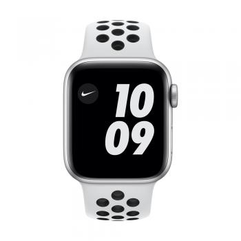 Apple Watch Nike Series 6, 40mm Silver Aluminum Case, Pure Platinum/Black Nike Sport Band, Cellular