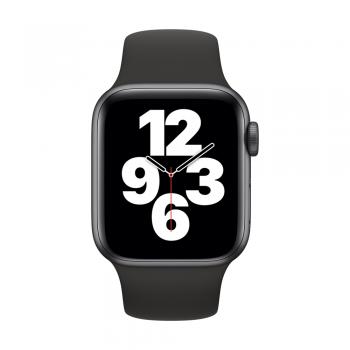 Apple Watch SE, 44mm Space Gray Aluminum Case, Black Sport Band