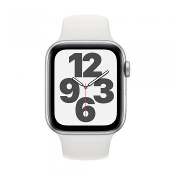 Apple Watch SE, 44mm Silver Aluminum Case, White Sport Band