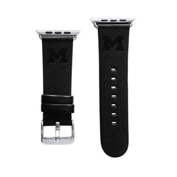 CBC Apple Watch Band, 42mm, Black Leather with Block M, Short