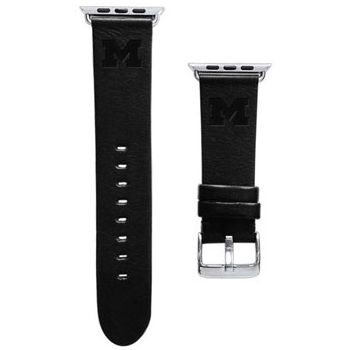 CBC Apple Watch Band, 42mm, Black Leather with Block M, Long