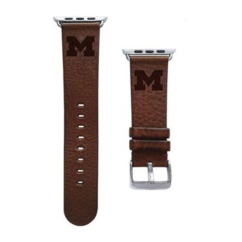 CBC Apple Watch Band, 42mm, Brown Leather with Block M, Long