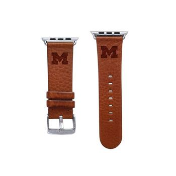 CBC Apple Watch Band, 42mm, Tan Leather with Block M, Short